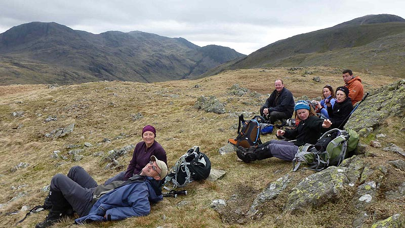 Relaxing after descending Great Gable