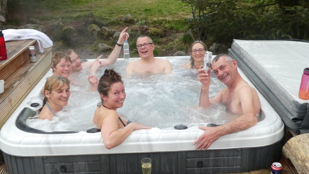 How many people can you fit in a hot tub...