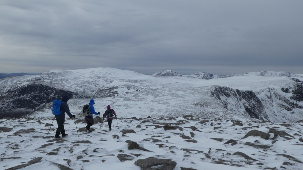 Heading off Cairngorm, Ben Macdui in distance
