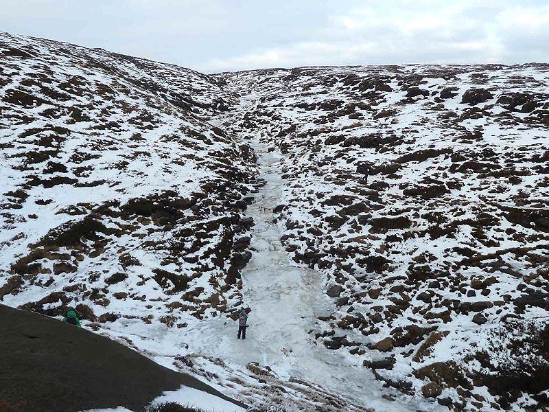 Frozen stream on Kinder Scout