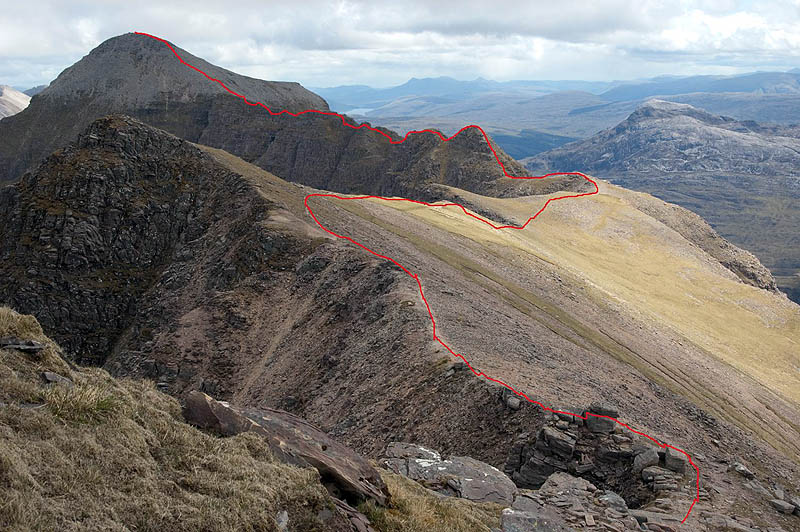 Route along the ridge of Liathach from Mullach an Rathain