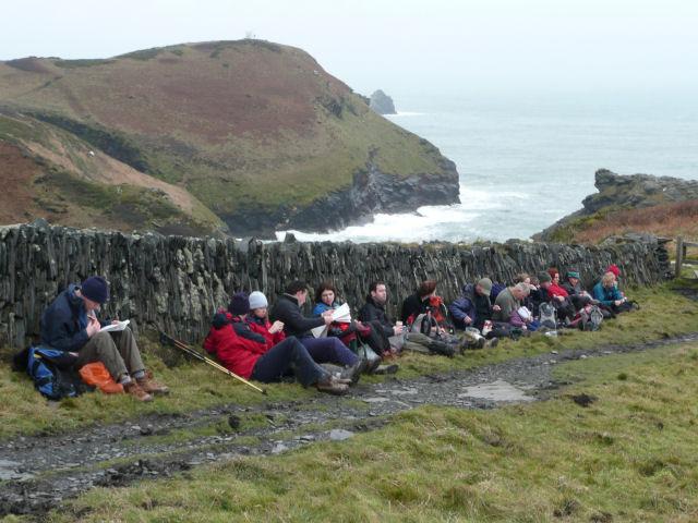 Seeking shelter, Tintagel, January 09